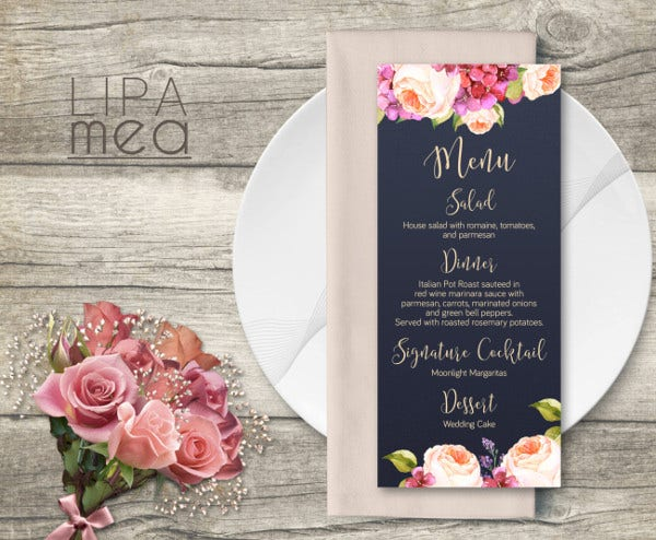 Navy Wedding Menu Card