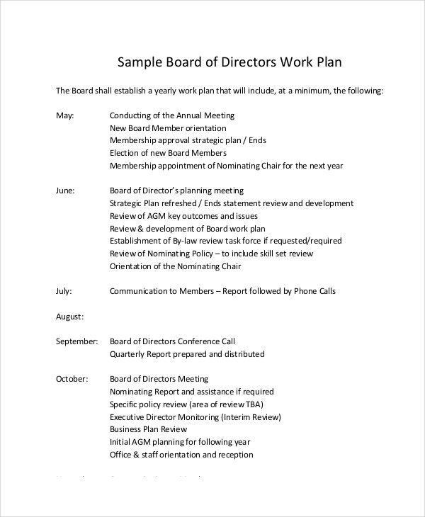 Work plan template 12 free pdf word documents download for Board member application template