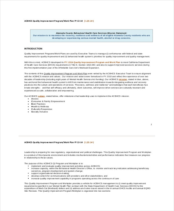 Work plan template 12 free pdf word documents download for Template for quality improvement plan