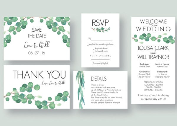 Floral Design Wedding Menu Card