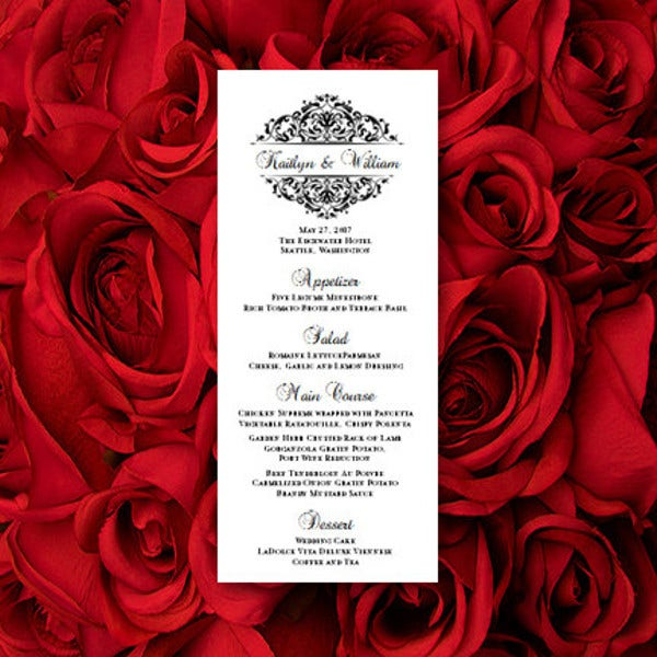 Editable Wedding Menu Card
