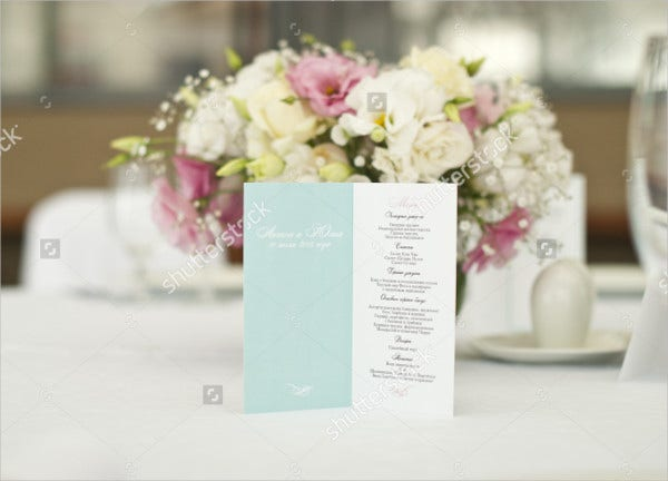 Beautiful Flowers Wedding Menu Card
