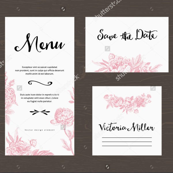 Pink Flowers Wedding Menu Card