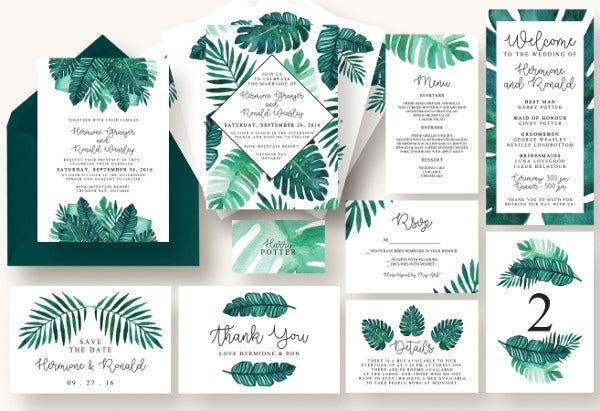 Tropical Leaves Wedding Menu Card