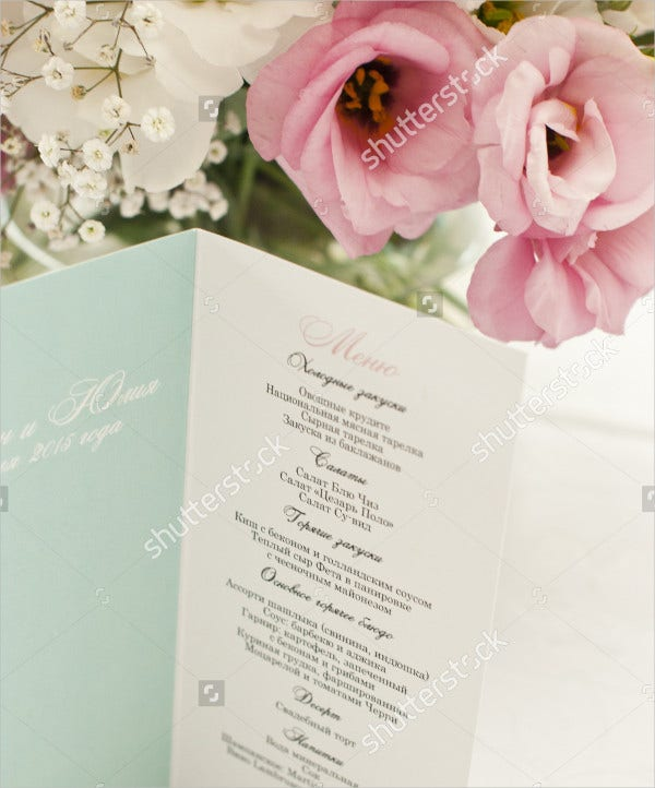 Beautiful Wedding Menu Card Template