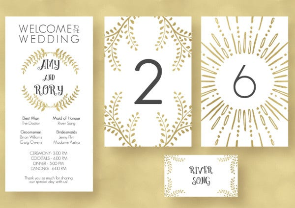 Gold Design Wedding Menu Card