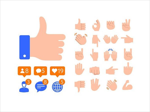 flat design thumb icon