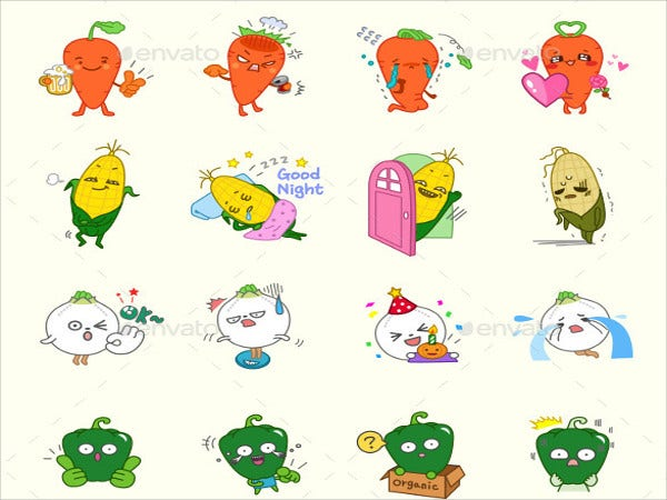 vegetable vector emoticons