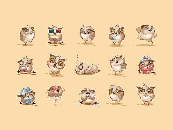 set vector owls emoticons