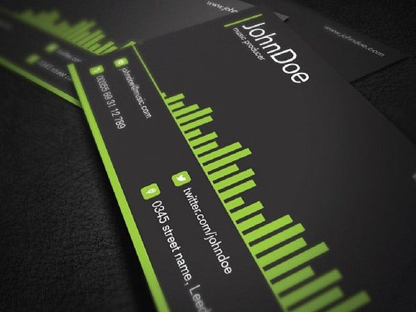music business card template