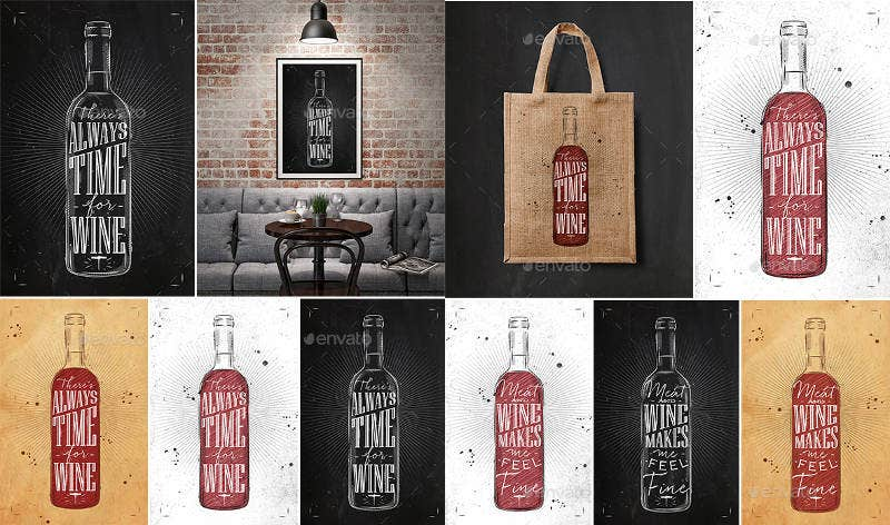 Set Wine Posters Typography Artwork