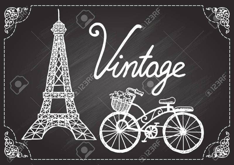 Hand Drawn Eiffel Tower and Bicycle