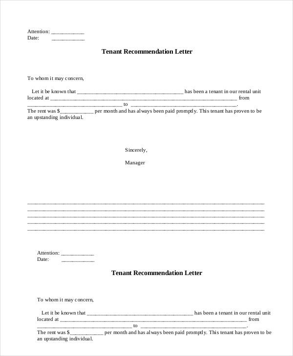 landlord protection agency tenant recommendation letter