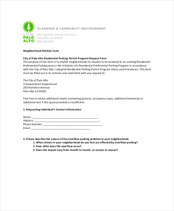 Community Petition Neighborhood Petition Template Petition Template