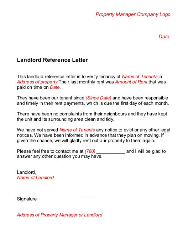 Rental Reference Letter Tips For Providing Tenant References Free