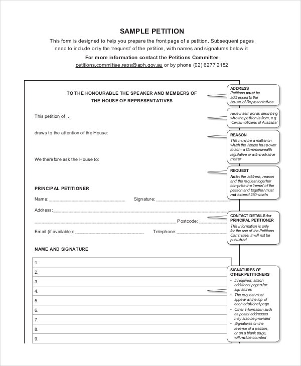 Petition Template   Free Word Pdf Documents Download  Free
