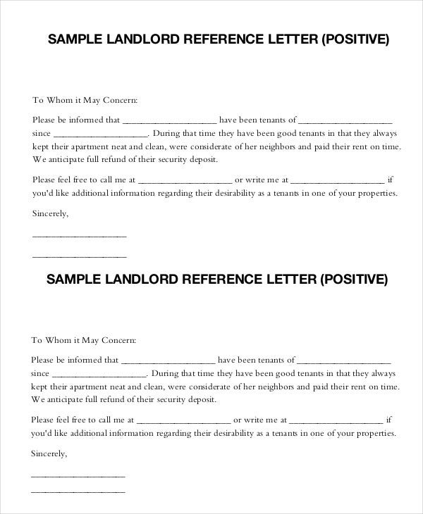 Positive Reference Letter From Landlord
