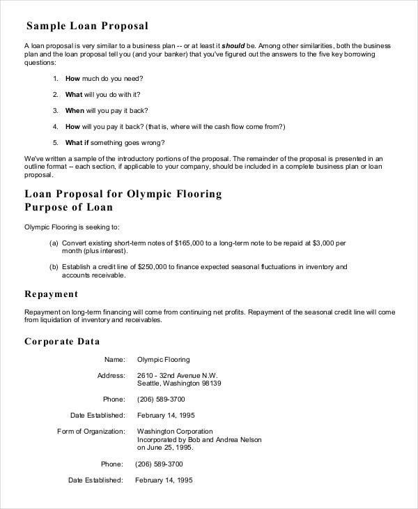 sample proposal letter for a small business loan - Business Proposal Sample