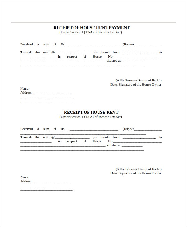 Rent Receipt Template 9 Free Word PDF Documents Download – Rental Payment Receipt