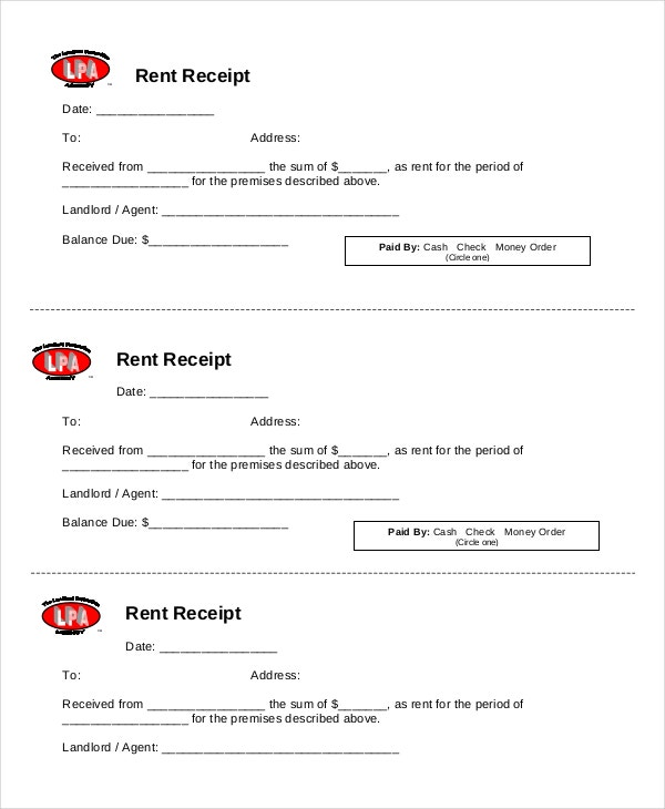 Rent Receipt Template 9 Free Word PDF Documents Download – Receipt for Rent Paid