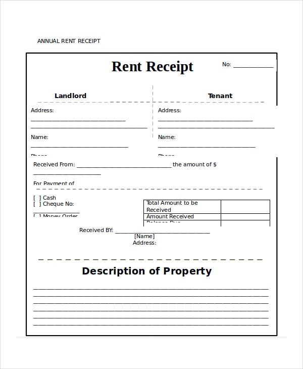 Superior Annual Rent Receipt Template In Word