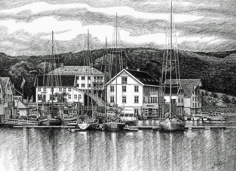 Dock Scene Pen And Ink Drawing