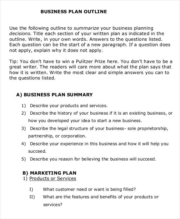 business plan proposal outline sample