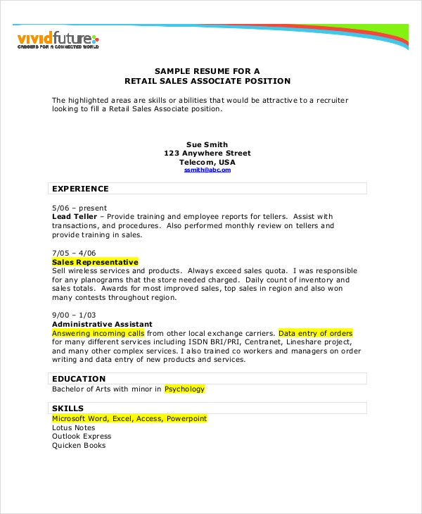 Retail Sales Associate Resume  Retail Sales Associate Resume Example