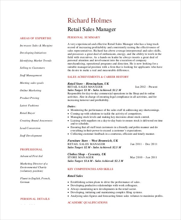Sales Resume Example - 7+ Free Word, Pdf Documents Downlaod | Free