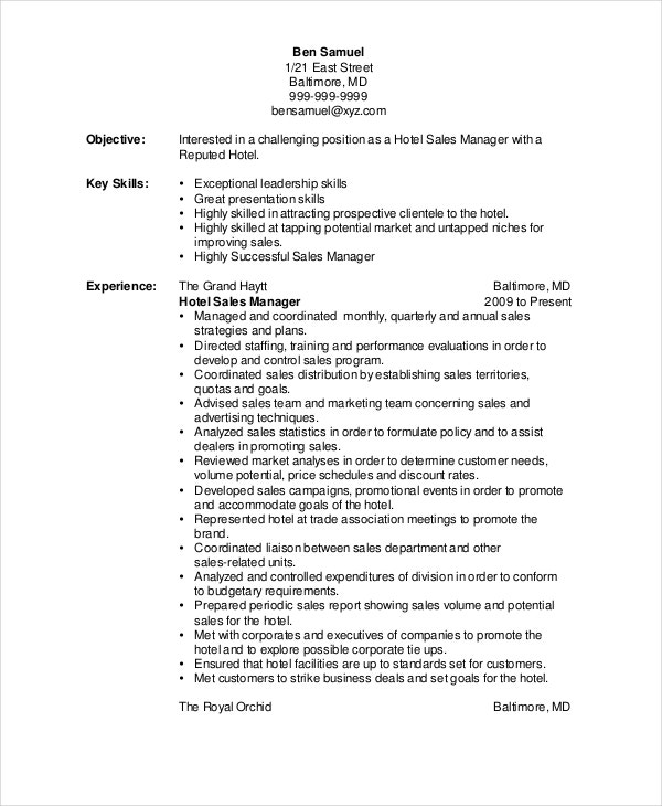 Sales Resume Example  7 Free