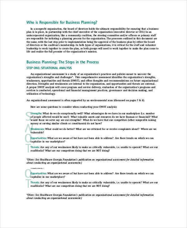 Nonprofit Business Plan Development Template