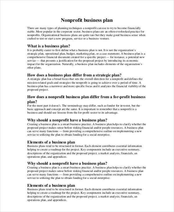 Non Profit Business Plan Free PDF Word Documents Download - How to create a business plan template