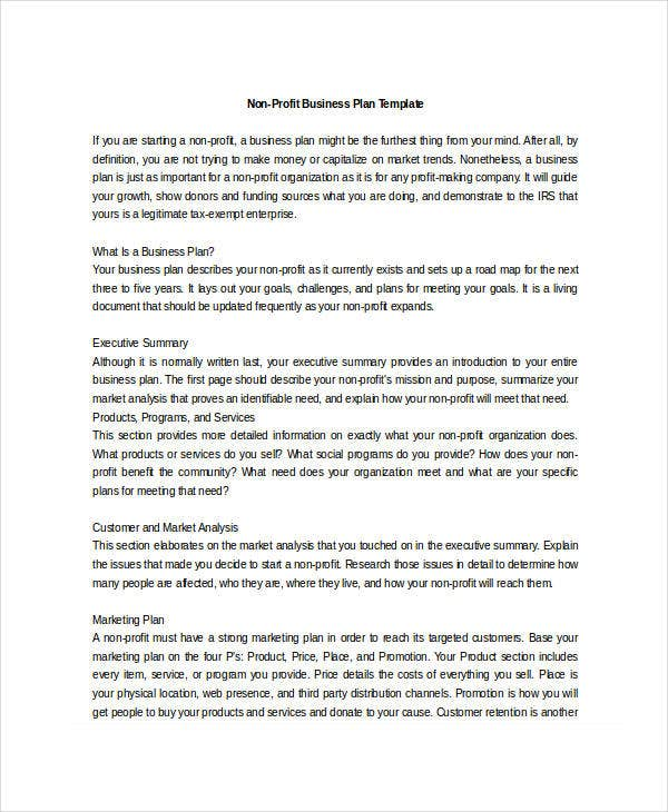 Non profit business plan 12 free pdf word documents download editable non profit business plan template accmission
