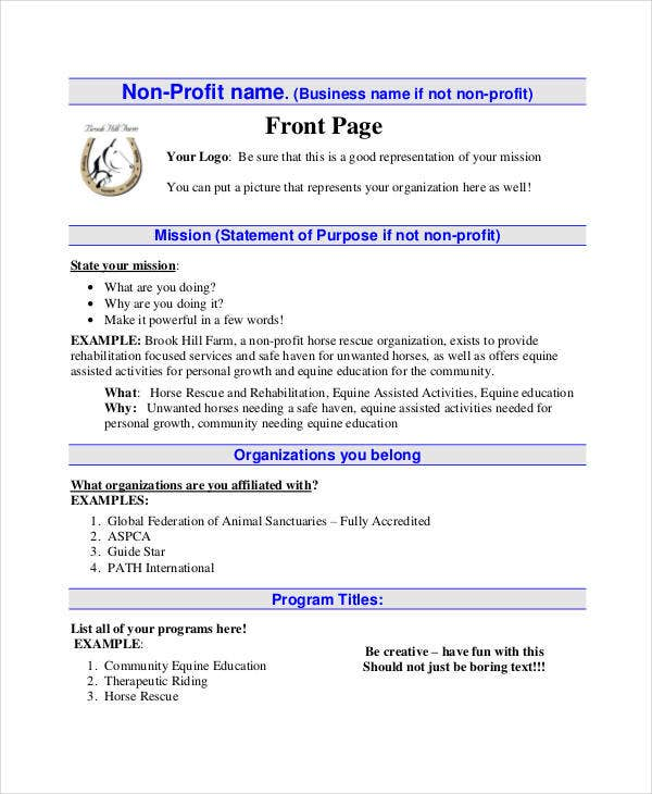 Non Profit Foundation Business Plan Template