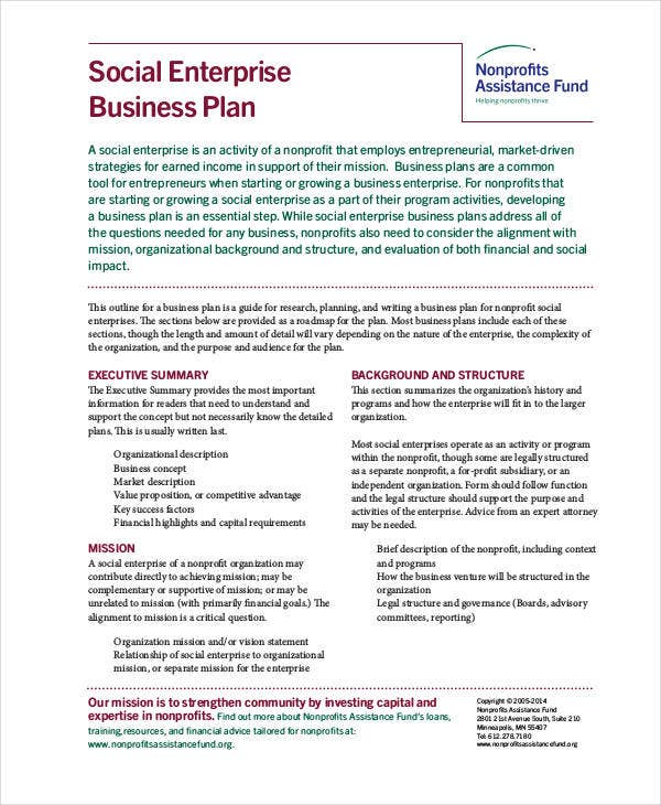 Non Profit Business Plan   Free Pdf Word Documents Download