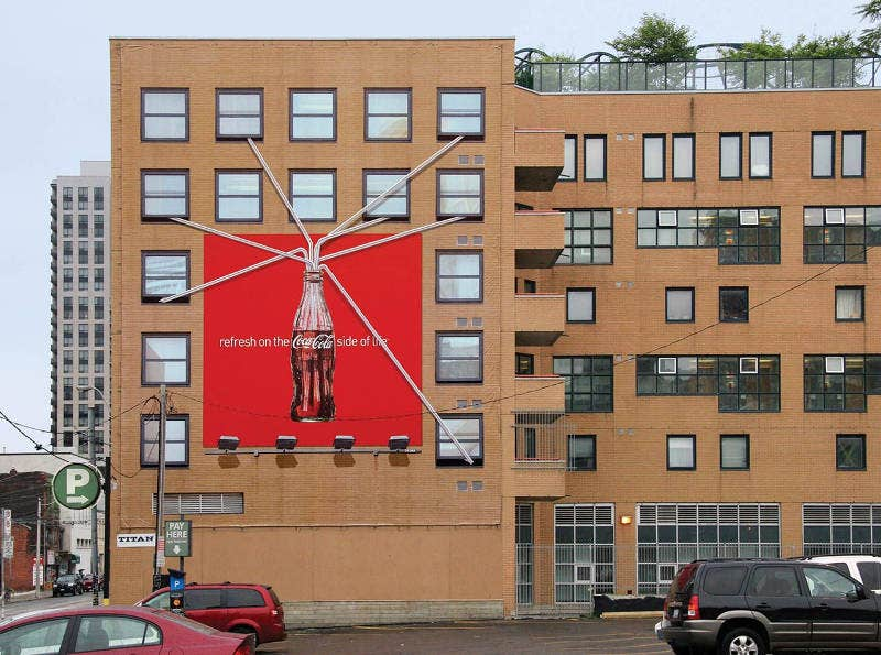 Coke Advertising Banner on Building