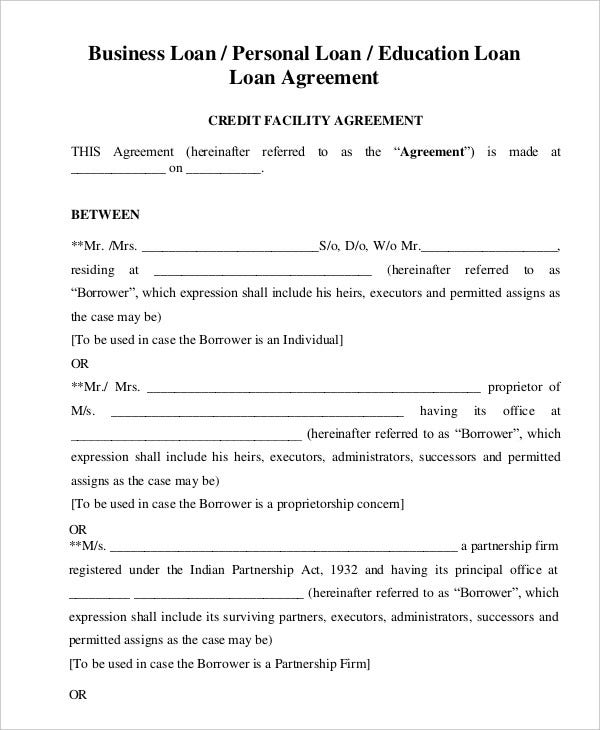Loan Agreement Template 11 Free Sample Example Format – Agreement Templates