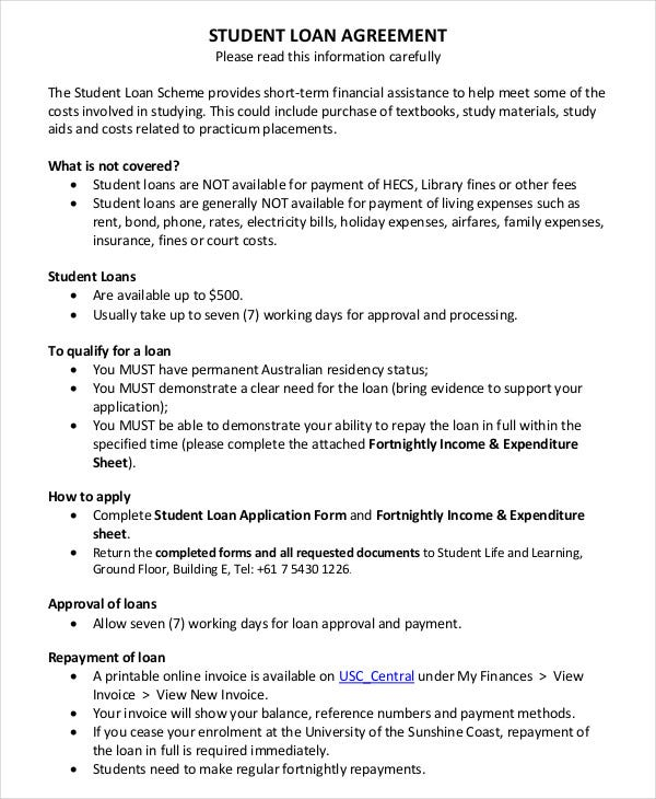 Sample Student Loan Agreement Template  Financial Loan Agreement Template