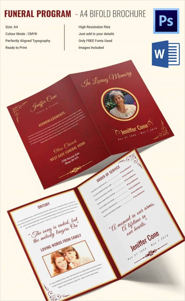 A4 Bi Fold Funeral Program Template for Grand Mother