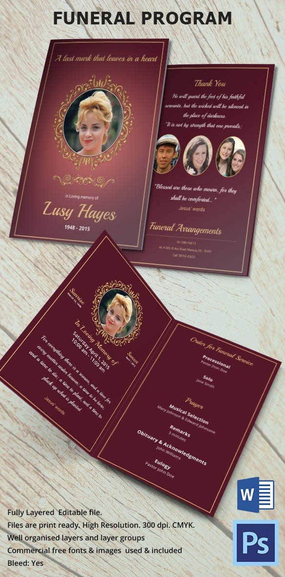 Funeral Program Template For Loving Daughter  Funeral Program Template Free