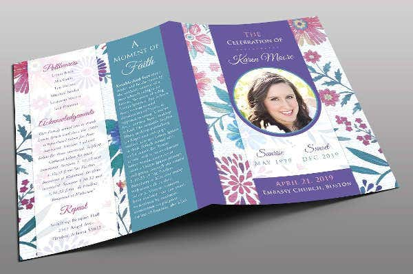floral funeral program template