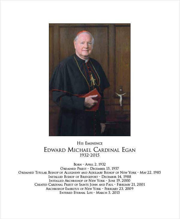 Catholic Funeral Mass Program Template