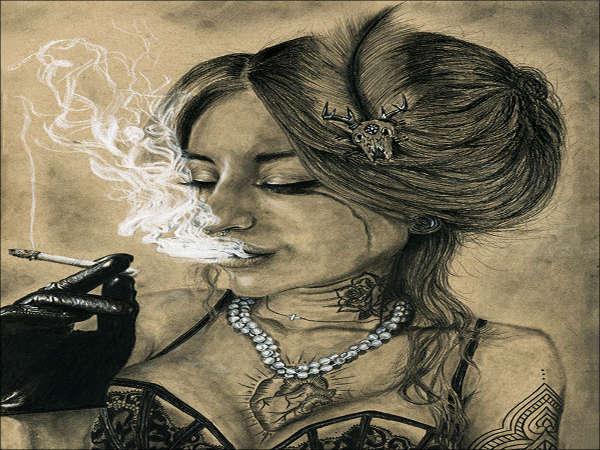 beautiful girl smoke drawing