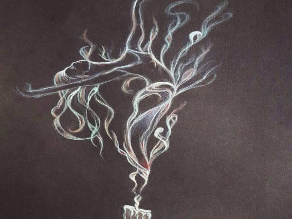art drawing ballerina smoke drawing