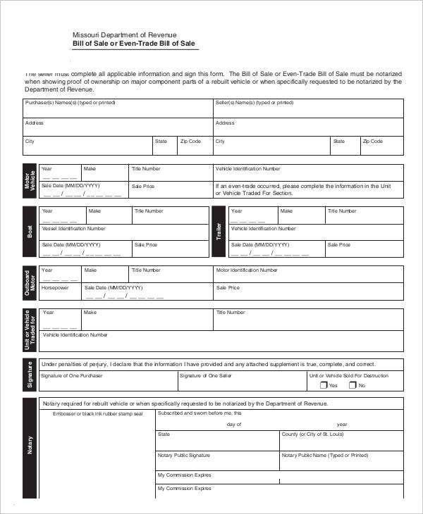 bill-of-sale-or-even-trade-bill-of-sale-form