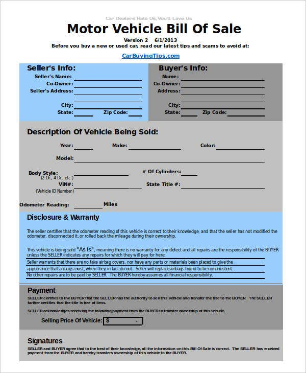 used-auto-bill-of-sale-template