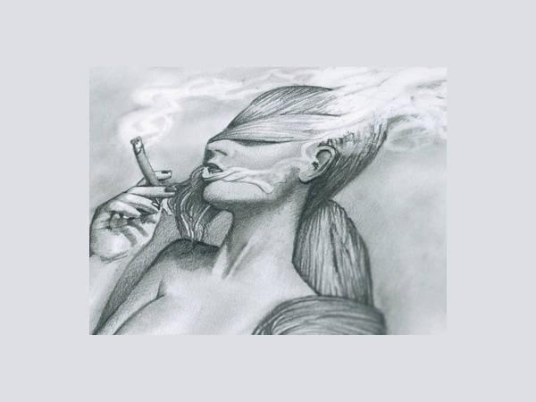 woman smoking drawing