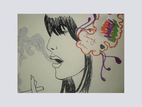 creative girl smoke drawing