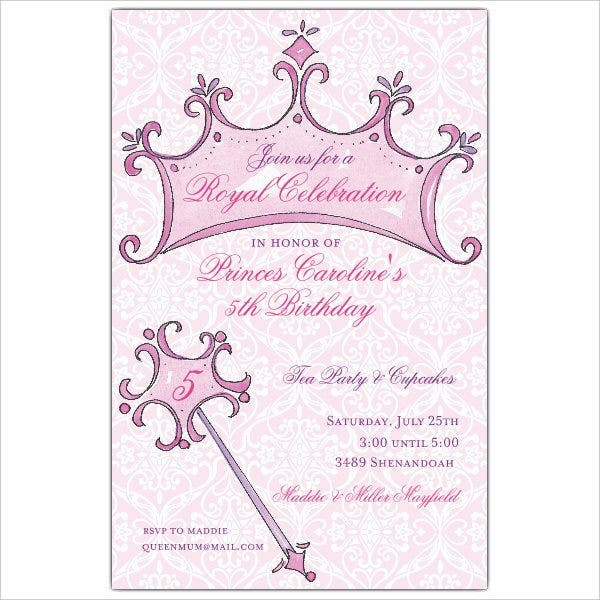 Paper Style Princeess Birthday Invitation