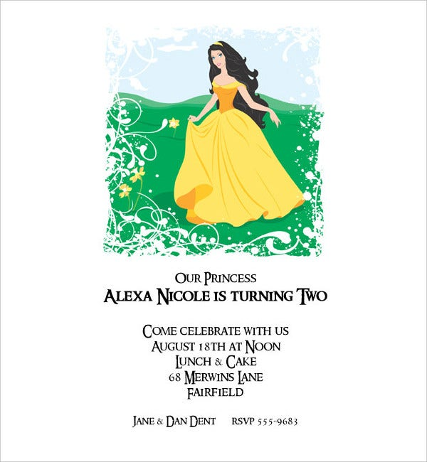Princess Carly Birthday Invitation